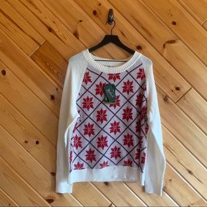 NWT Woolrich Snowflake Sweater XXL Cream Red